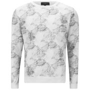 Ashley Marc Hovelle Men's Leaf Print Sweatshirt - White