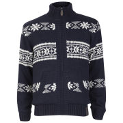 Brave Soul Men's Jacquard Printed Zip Thru Antartic Knit - Navy