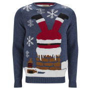 Threadbare Men's Chimney Santa Knitted Jumper - Navy