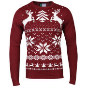 Christmas Branding Snowflake Knitted Jumper - Oxblood