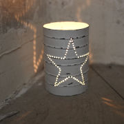 Nkuku Can Lantern - Distressed White - 12cm(H) x 8.5cm(Diameter)