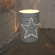 Nkuku Can Lantern - Distressed White - 12cm(H) x 8.5cm(Diameter)