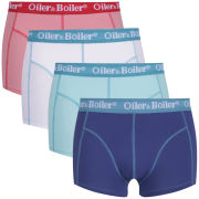 Oiler & Boiler Men's Nantucket Plain Mix 4 Pack Boxer Briefs - Blue/Pink