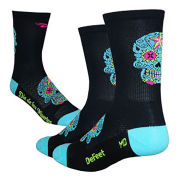 DeFeet Aireator Sugarskull Tall Socks - Black/Turquoise