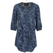 Maison Scotch Women's Silky Feel Print Beaded Neckline Tunic Dress - Blue