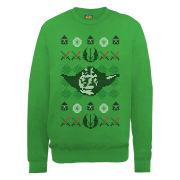 Star Wars - Christmas Yoda Head Knit Effect Sweatshirt - Irish Green
