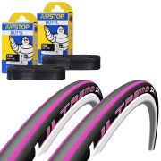 Schwalbe Ultremo ZX Clincher Road Tyre Twin Pack with 2 Free Tubes - Black/Pink 700c x 23mm