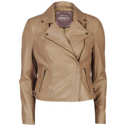Barneys Women's Real Leather Biker Jacket - Tan