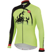 Castelli Sublime Long Sleeve Full Zip Jersey - Yellow Fluo/Black