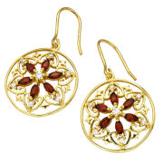 Gold Plated Circle Filigree Design Garnet Earrings