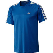 adidas Men's Essential 3 Stripe Crew Neck T-Shirt - True Blue/White