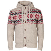Brave Soul Men's Neutrino Button Through Knitted Cardigan - Oatmeal / Red