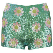 Wildfox Women's Psychodelic Daisies Shorts - Glitter Green - M MGlitter Green