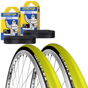 Veloflex Corsa 23 Clincher Road Tyre Twin Pack with 2 Free Tubes - Yellow 700 x 22c