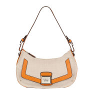 Fiorelli Janine Small Zip Top Shoulder Bag - Orange/Canvas Mix
