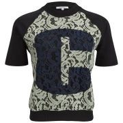 Carven Women's Printed Lace T-Shirt - Almond