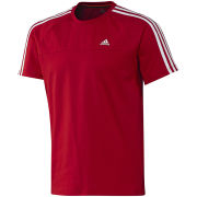 adidas Men's Essential 3 Stripe Crew Neck T-Shirt - Red/White