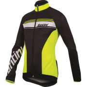 Santini Fluke Thermofleece Long Sleeve Jersey - Black/Yellow