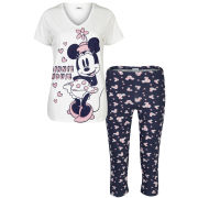 Minnie Mouse Women's Printed Pyjama Set - Royal Blue & Cream