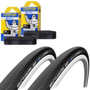 Veloflex Corsa 25 Clincher Road Tyre Twin Pack with 2 Free Inner Tubes - Yellow 700 x 25mm