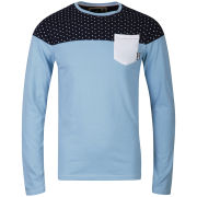 Soul Star Men's Fine Spotted Jersey Sweatshirt - Sky Melange/Navy/White