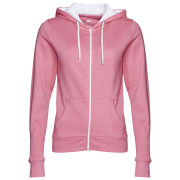 Brave Soul Women's Adrian Zip Through Contrast Hoody - Powder Pink