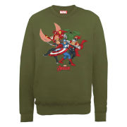 Marvel Avengers Assemble Comic Team Men's Sweatshirt - Military Green