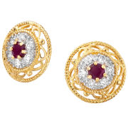 Two Toned Gold Plated Round Earrings