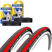 Schwalbe Lugano Clincher Road Tyre Twin Pack with 2 Free Inner Tubes - Red 700c x 23mm