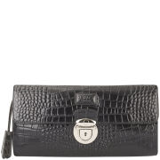 OSPREY LONDON Lamaar Croc Leather Long Clutch Bag - Black