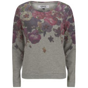 ONLY Women's Cherry Flowers Sweatshirt - Light Grey