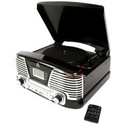 GPO Memphis Turntable 4-in-1 Music System with Built in CD and FM Radio - Black