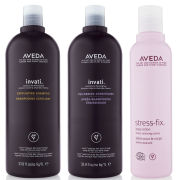 Aveda Invati Shampoo and Conditioner 1000ml with Stress Fix Body Lotion