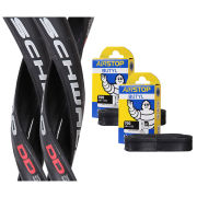 Schwalbe Ultremo DD Clincher Road Tyre Twin Pack with 2 Free Inner Tubes - Black - 700c x 25mm
