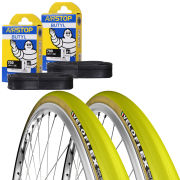 Veloflex Master 25 Clincher Road Tyre Twin Pack with 2 Free Inner Tubes - Yellow 700c x 23mm