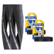 Vittoria Diamante Pro III Radiale Clincher Road Tyre Twin Pack with 2 Free Tubes - Black 700c x 22mm