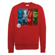 Marvel Avengers Assemble Team Strips Men's Sweatshirt - Red
