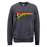 DC Comics Sweatshirt - Superman Telescopic Logo Crackle - Steel Grey