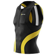 Skins Tri400 Compression Sleeveless Tri Top - Front Zip - Black/Yellow