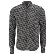Scotch & Soda Men's All-Over Dogtooth Print Button-Down Shirt - Grey