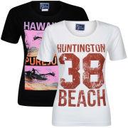 Pure Juice Women's 2 Pack Hawaiian & Huntingdon Beach Graphic T-Shirt - Black/White