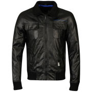 Crosshatch Men's Leather Look Bomber Zip - Black
