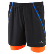 RonHill Men's Advance Twin Shorts - Black/Fluo Orange