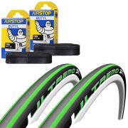 Schwalbe Ultremo ZX Clincher Road Tyre Twin Pack with 2 Free Inner Tubes - Black/Green 700c x 23mm