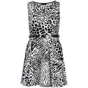 Club L Women's Animal Print Monochrome Belted Skater Dress - Black/White
