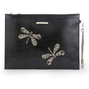 Matthew Williamson Women's Nomad Dragonfly Pouch Leather Clutch Bag - Black Lizard