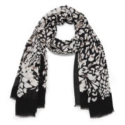 Diane von Furstenberg Women's Grace Feather Print Scarf - Black Leopard