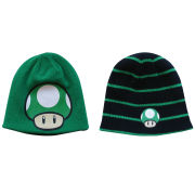 Mushroom 1UP - Beanie Hat (Reversible Green and Black)