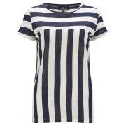 A.P.C Women's Stripe Linen T-Shirt - Marine
