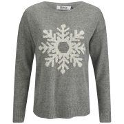 ONLY Women's Snowflake Christmas Jumper - Light Grey Melange